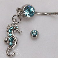 New Seahorse Style Rhinestone Navel Belly Button Ring Body Piercing Jewelry Blue