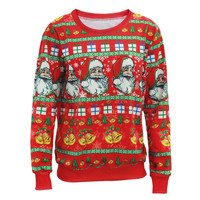 Santa Claus X-mas Tree Reindeer Patterned Sweater New Arriving Ugly Christmas Sweaters For Men Women Middle Long Pullovers A2