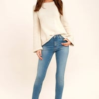 Cheap Monday Second Skin Distressed Light Wash Skinny Jeans