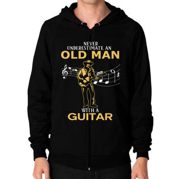 Nerver Underestimate An Old Man With A Guitar T Shirt - Men's Zip Hoodie