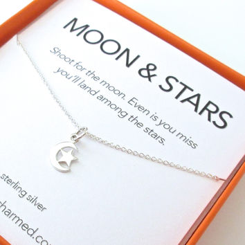 Moon & Star Charm Necklace Set
