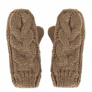 Cable Knit Mittens - Camel