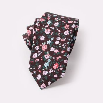Men Floral Dots Tie Cotton Narrow and Skinny Casual Ties for Men Wedding Party Flower Skinny Ties for Men Women