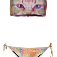 Pink Kitty Bandeau Bikini - Topshop USA