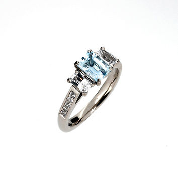Ready to ship size 6.75, Aquamarine and white sapphire trinity engagement ring, emerald cut aquamarine, white gold, light blue engagement