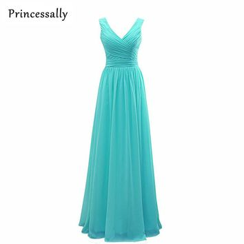 Turquoise Long Bridesmaid Dresses 2017 Princessally A-line V neck Women Pleated Formal Wedding Party Gowns Vestido De Festa