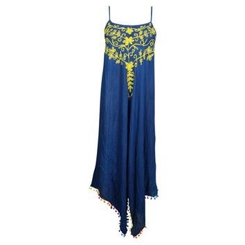 Mogul Womens Beach Breeze Strappy Sexy Dress Royal Blue Floral Embroidered Uneven Pom Pom Hem Summer Style Flare Beautiful Sundress - Walmart.com