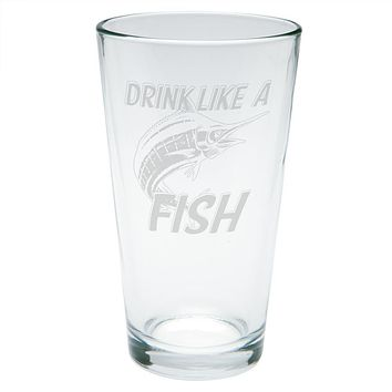 Drink Like A Fish Marlin Deep Sea Etched Pint Glass