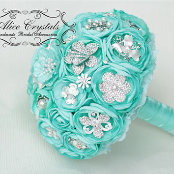 Brooch bouquet, mint Bouquet. Textile mint bouquet.
