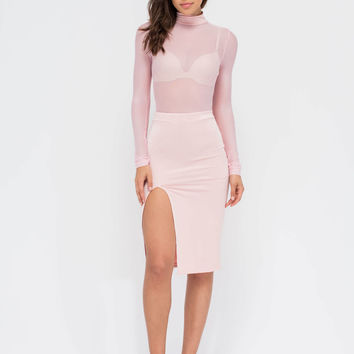 Sheer You Up Slit Mockneck Midi Dress GoJane.com