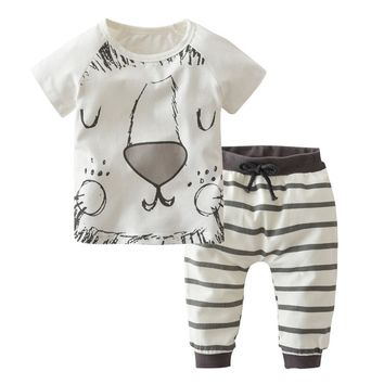 Summer infant outfits baby boy clothing sets little monsters and the lions short sleeve t-shirt+pants baby boy clothes