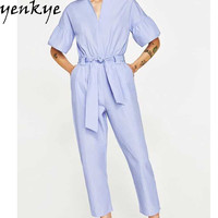 European Style Rompers Womens Jumpsuits Solid Color V Neck Short Sleeve With Belt Summer Elegant Overalls 2017 FFWM81