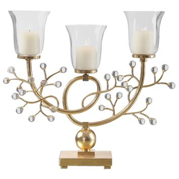 Bede Metallic Gold Candelabra by Uttermost