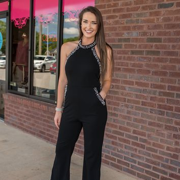 Strong Spirit Solid Black Jumpsuit