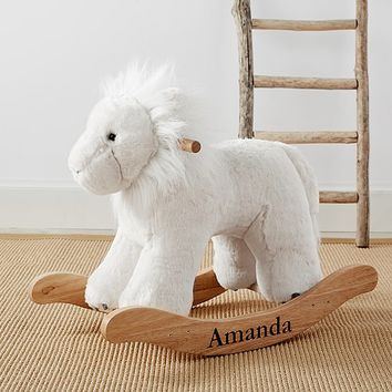 Nursery Faux-Fur Plush Lion Rocker