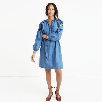 Embroidered Denim Tealeaf Dress