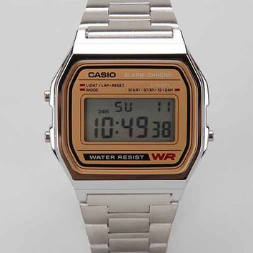 Casio Chrome & Gold Digital Watch
