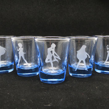 Sailor Moon Sailor Scout Silhouette 1.5 oz Shot Glass Set of FIVE (5)