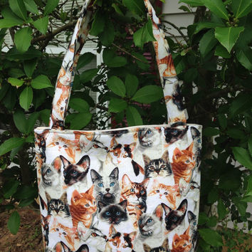 Cats Allover Purse, Fabric Purse, Shoulder Bag, Theme Purse, Tote Bag, Novelty Purse, Gifts, Diaper Bag, Book Bag, Lunch Bag