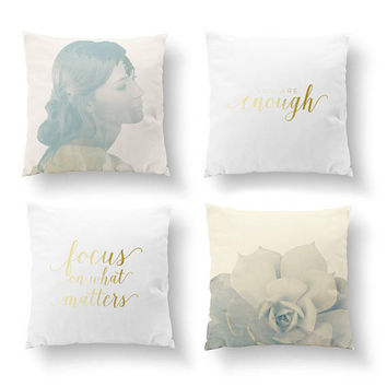 SET of 4 Pillows, Beautiful Girl, Bed Pillow, Throw Pillow, Cushion Cover, You Are Enough, Succulent Pillow, Double Exposure, Gold Pillow