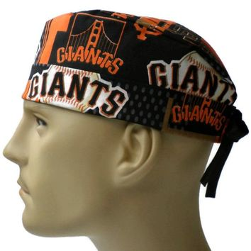Men's Adjustable Cuffed or Un-Cuffed Surgical Scrub Hat Cap in San Francisco Giants Allover