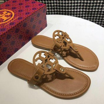 Tory Burch brown Women Patent Leather Flip Flops Thong TB Flats Sandals, Female Designer Rubber Sole Miller Loafers Girls Ladies Slippers