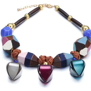 Wooden Bead Color Acrylic Necklace