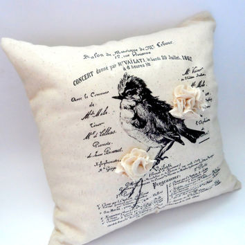 French Chickadee Pillow, French Script, Fabric Flower, Bird on Branch, Envelope Back Throw Pillow, 14X14 Slipcover, Square, Home Decor