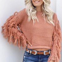 Second Home Dark Mauve Fringe Crop Sweater