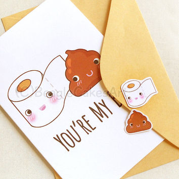 Cute Toilet Paper & Poop 4x6'' Notecard - You're My BFF Cute Greeting Card - Funny Toilet Humor Greeting Cards - Friendship Card, Poop Card