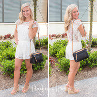 Ivory Lace Pom Romper
