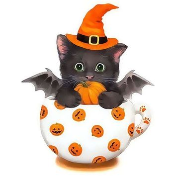 5D Diamond Painting Teacup Halloween Bat Kit