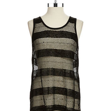 Two By Vince Camuto Mesh and Sequin Tank
