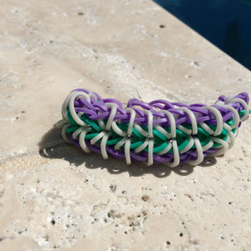Zippy Chain Rainbow Loom Bracelet Purple Aqua White With Optional ADD ON Charm Football Soccer Baseball Basketball Cheer Tennis  Yoga