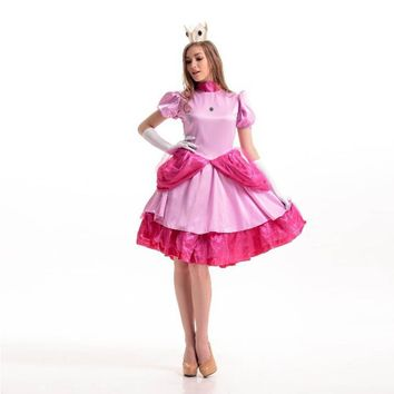 Super Mario Bros Princess Peach Costume Pink Fancy Dress Princess Costume Party Wear Halloween Costumes for Woman One Size