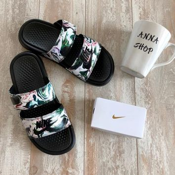 shosouvenir Nike Benassi Duo Tra Slide Camouflage beach sandals double buckle shoes
