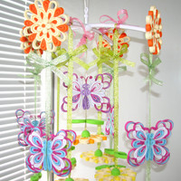 Baby mobile Crib mobile Nursery Mobile Floral Mobile Quilled Mobile Baby girl mobile Flower mobile Nursery decor Bright mobile Butterflies