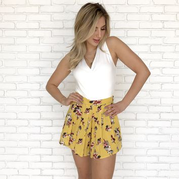 Sunset Stroll Floral Shorts in Mustard