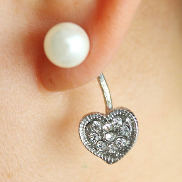 Diamante heart pearl stud ear jackets, heart ear jackets, heart double earrings, crystal heart earrings, heart silver earrings