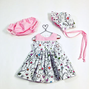 Newborn to 3 month baby dress summer outfit infant set baby bonnet baby outfit summer dress floral dress pink dress baby shower new baby