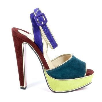 Multicolor 37.5 EUR - 7.5 US Christian Louboutin Womens Sandal LOULOUDANCE 140 VEAU VE