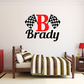 Boys Name Checkered Flag Racing Monogram Wall Decal #2 Nursery Room Vinyl Wall Graphics Bedroom Decor