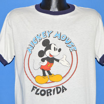 80s Mickey Mouse Florida Ringer t-shirt Large
