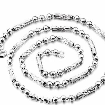 Children Kid Handmade solid .990 Fine Silver Ball & Bar Necklace Chain - 4mm 24""