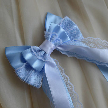 Hair bow - pastel french blue and white bow - fairy kei decora bow lolita harajuku romantic victorian princess bow kawaii costume bow