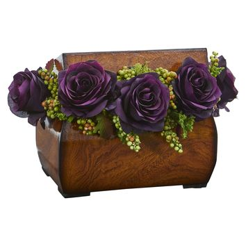 Artificial Flowers -Roses Dark Purple Arrangement in Decorative Chest