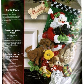 Bucilla Felt Stocking Kit Santa Paws 86054