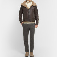 Balmain - Shearling and Leather Aviator Jacket | MR PORTER