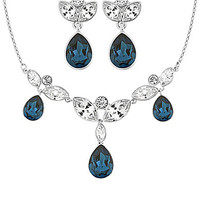 Swarovski Blues Earrings & Necklace Set - Slv/Blu/Cry