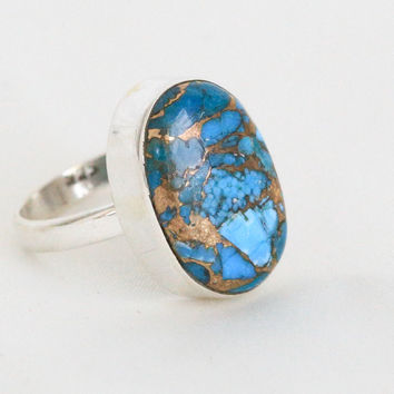 Blue Copper Turquoise Ring in 925 Sterling Silver